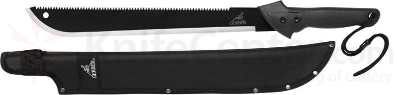 Gerber Gator Sawback Machete 18 inch Carbon Steel Blade, Tactile Rubber Grip (31-000758)