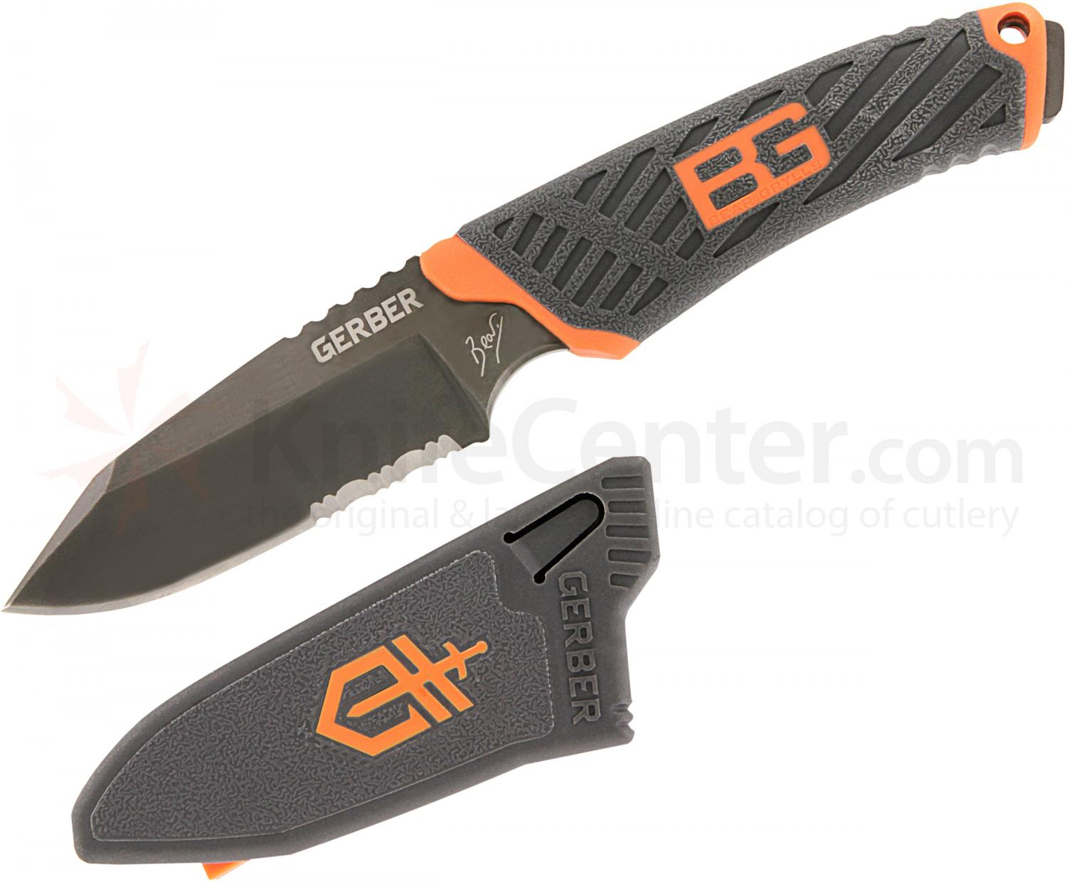 Gerber 31-001066 Bear Grylls Compact Fixed 3.4 inch Combo Blade, Rubber Handles