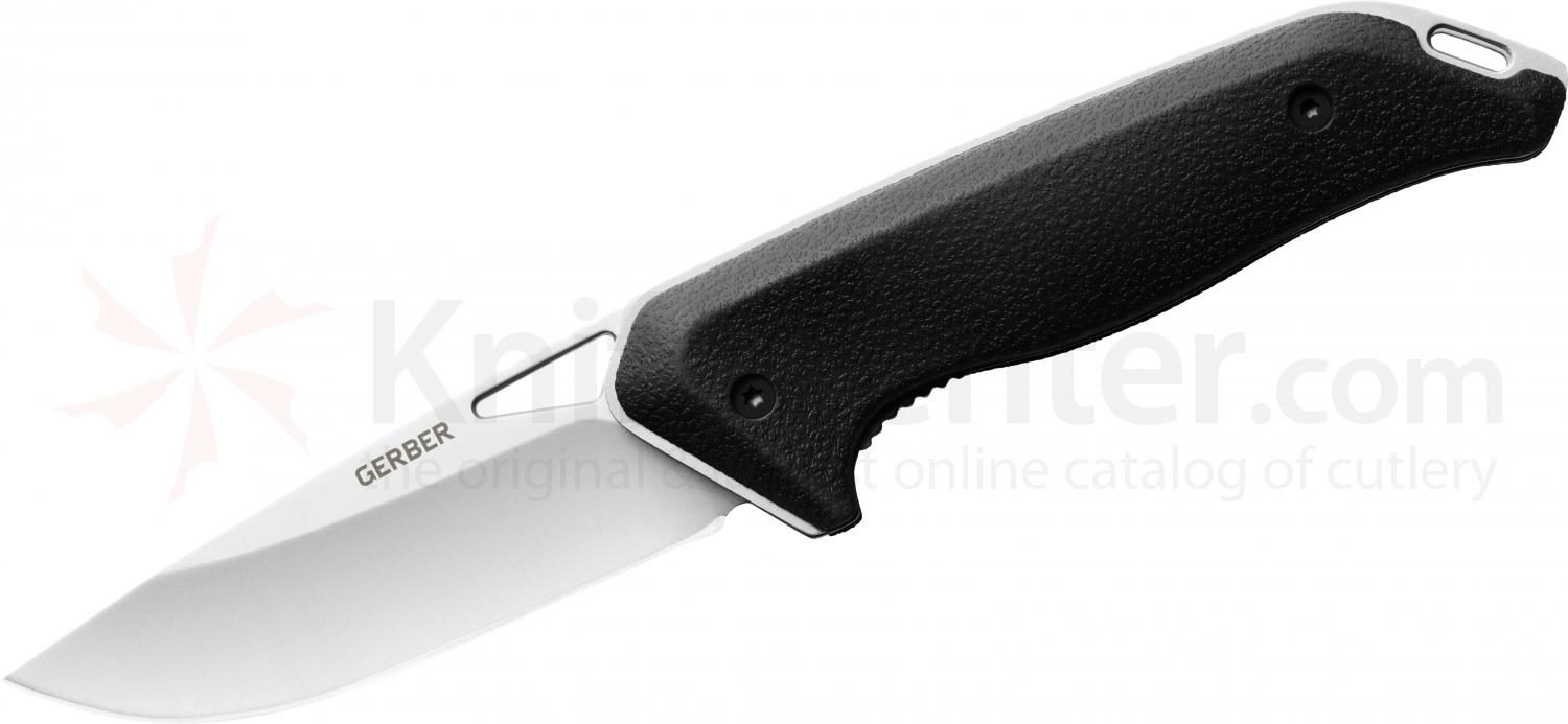 Gerber Moment Large Drop Point Folder 3.5 inch 5Cr15MoV Blade, Black Rubberized Handle