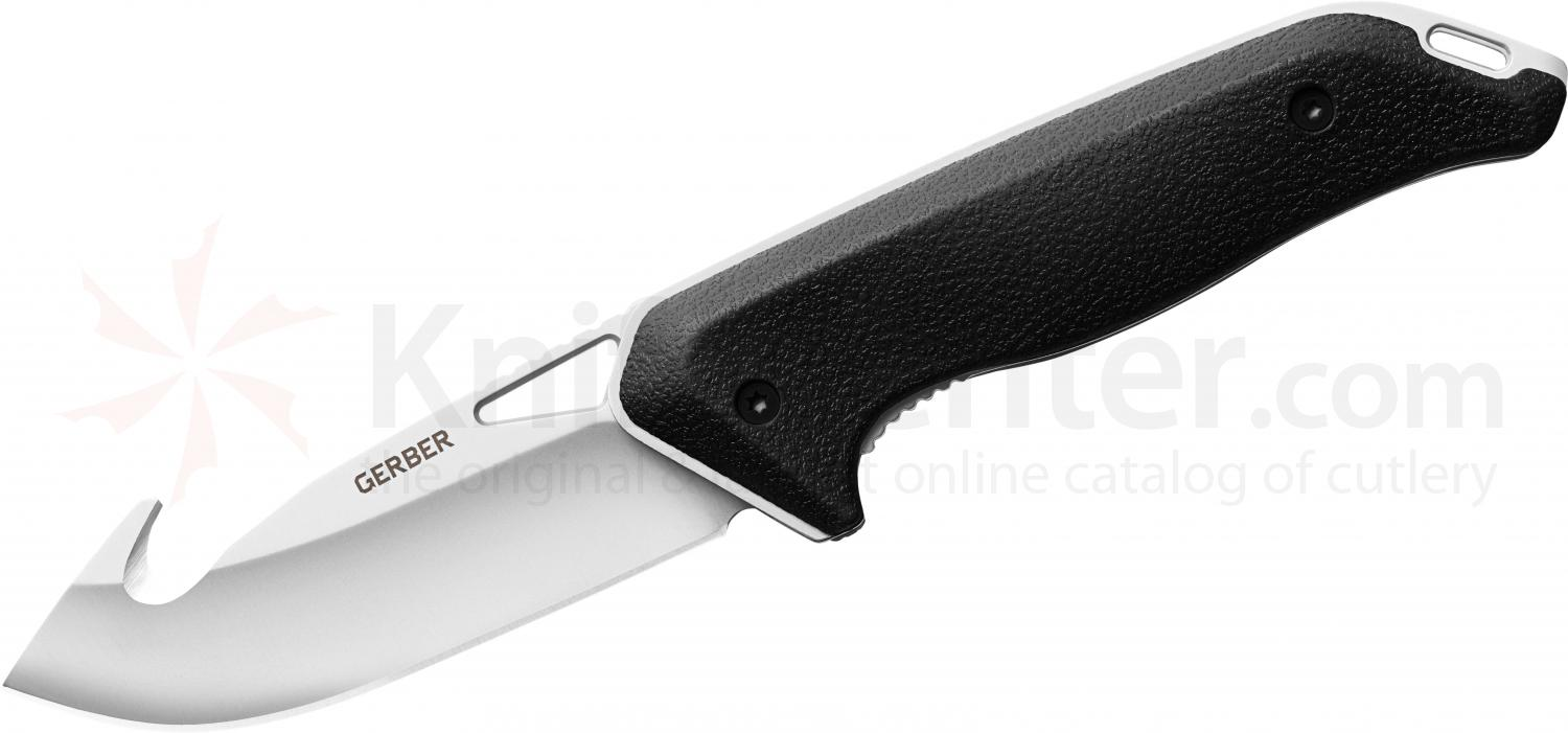 Gerber Moment Large Guthook Folder 3.6 inch 5Cr15MoV Carbon Blade, Black Rubberized Handle
