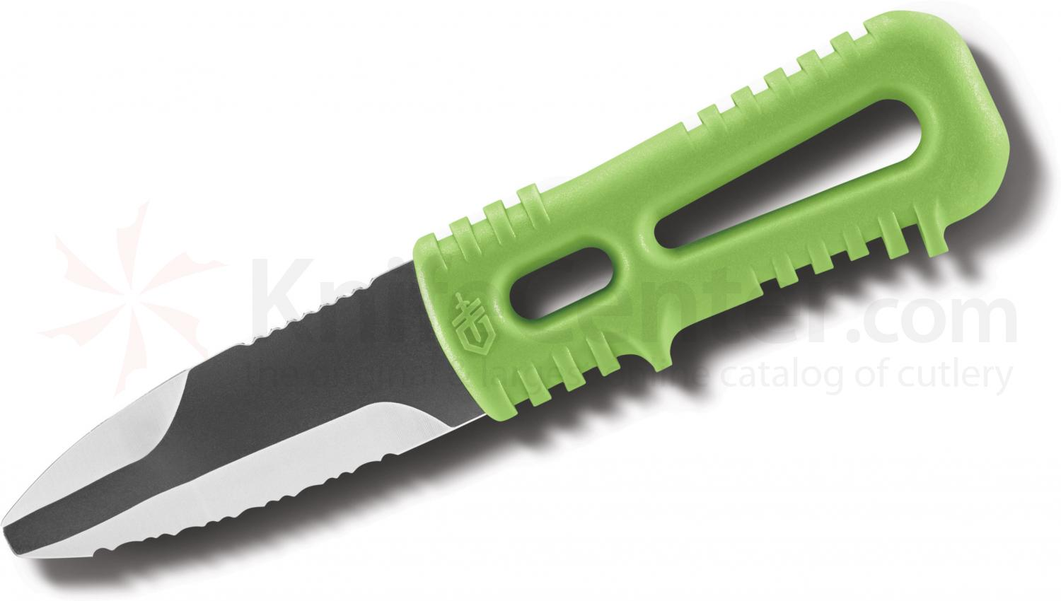Gerber River Shorty Dive Knife 3 inch Double Edge Blunt Tip Blade, Green Zytel Handles, Plastic Sheath