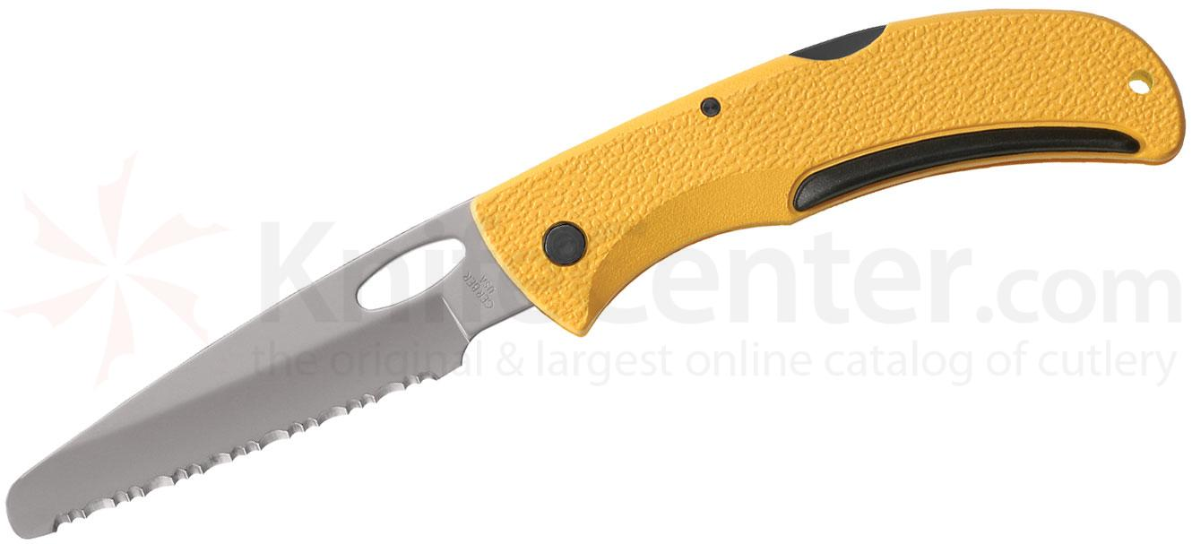 Gerber 06971 E-Z-Out Rescue Folder 3.51 inch Serrated Blunt Tip Blade, Yellow Glass Filled Nylon Handles