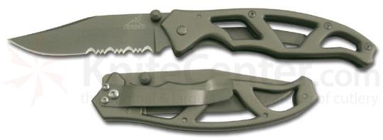Gerber Paraframe I Folding Knife 3 inch Combo Blade, Stainless Steel Handles