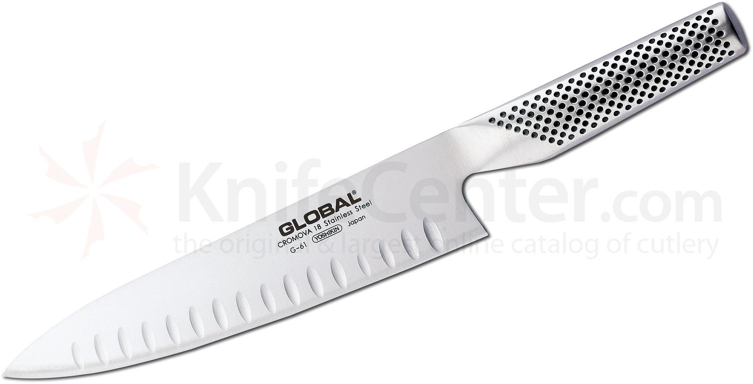 Global G-61 Kitchen 8 inch Granton Cook Knife