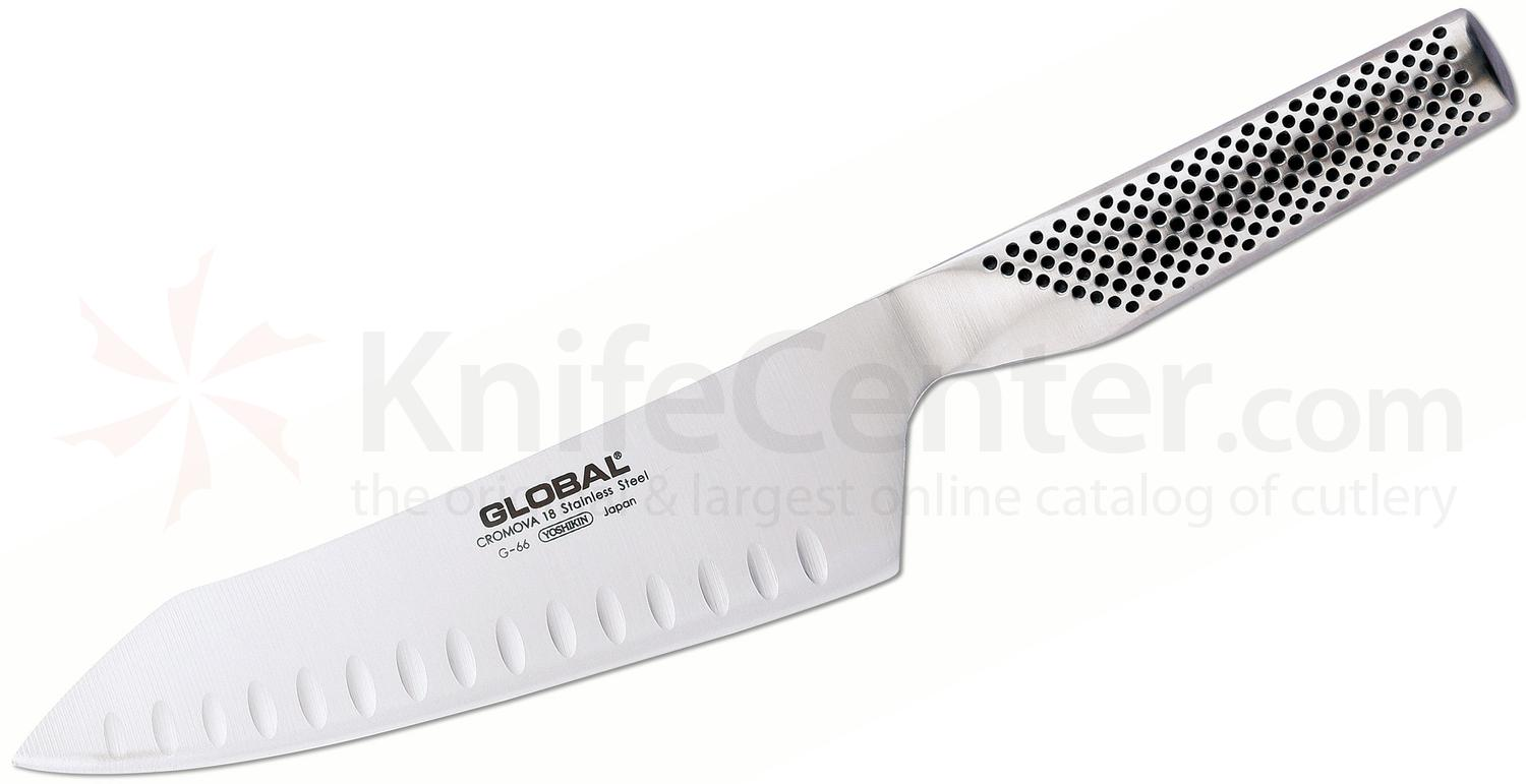Global G-66 Classic 7 inch Oriental Chef's Knife, Hollow Ground