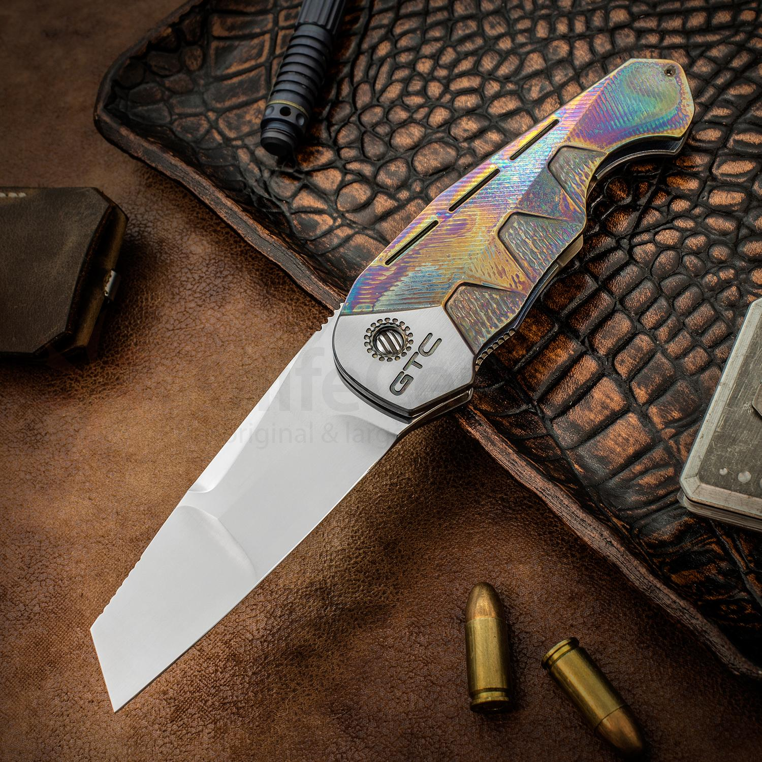 Gustavo GTC Cecchini Custom LKK Low-Key Flipper 3.5 inch CTS-XHP Hand Rubbed Satin Blade, Flamed Titanium Handles, Moktui Clip