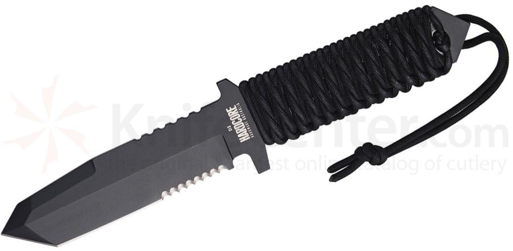 Hardcore Hardware Mid Field Knife 5.3 inch Black D2 Tanto Combo Blade, Paracord Handle, Cordura MOLLE Sheath
