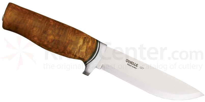 Helle GT Fixed 4-3/4 inch Blade, Birch Wood Handle with Steel Guard, Genuine Leather Sheath