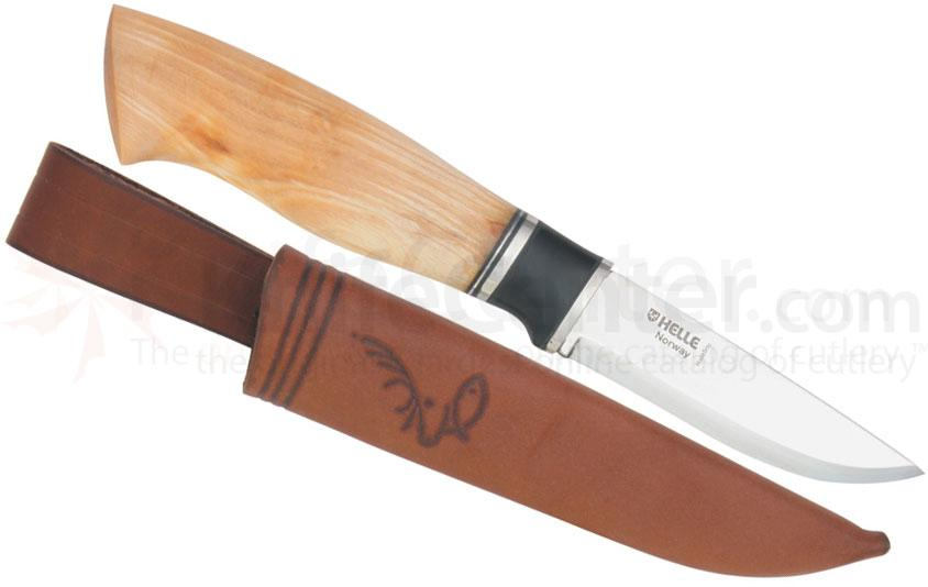Helle Winner Fixed 3-1/2 inch Blade, Birch Wood Handle, Genuine Leather Sheath