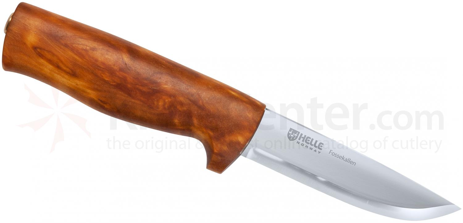 Helle Fossekallen Fixed 3.5 inch Blade, Curly Birch Handle, Genuine Leather Sheath