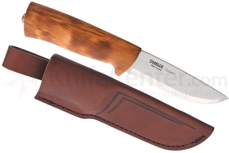 Helle Eggen Hunting Knife 4 inch Blade, Curly Birch Handle, Leather Sheath