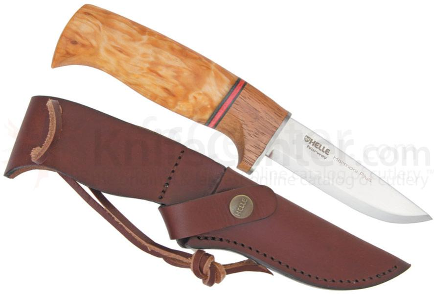 Helle Harmoni Plus Hunting Knife 3-1/2 inch Blade, Curly Birch and Merbau Handle, Leather Sheath