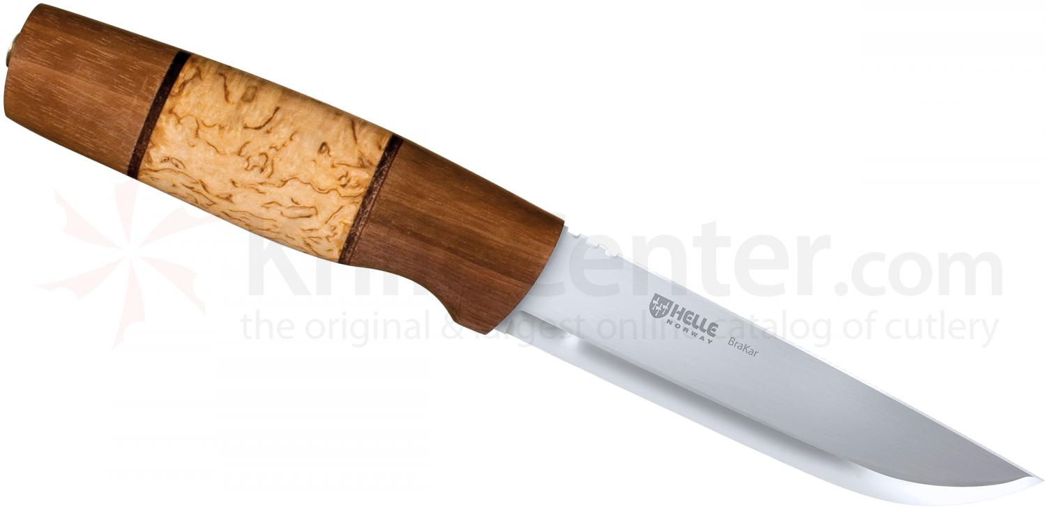 """American Made Kitchen Knives >> Helle Brakar Hunting Knife 5"""" Blade, Curly Birch and Walnut Handle, Leather Sheath - KnifeCenter ..."""
