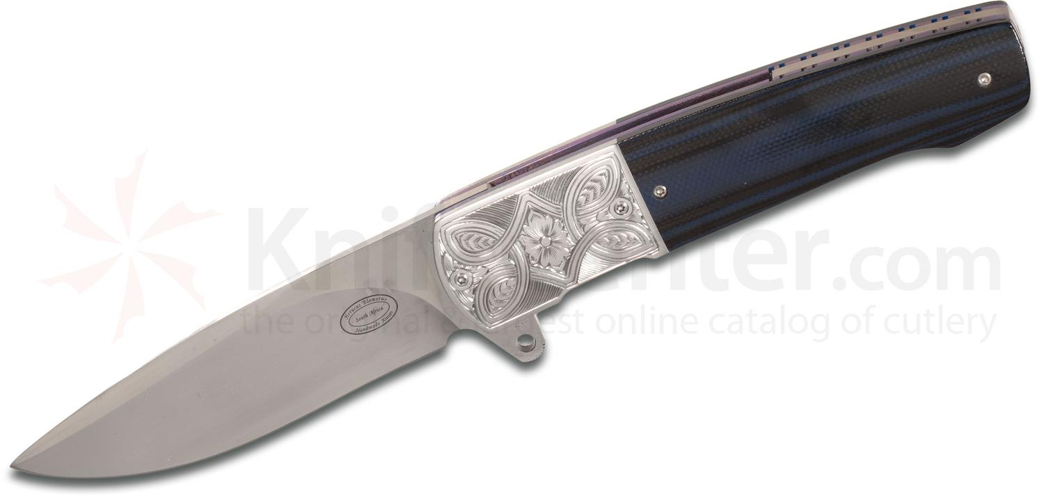Herucus Blomerus Custom LL 07 Front Flipper 3.375 inch N690 Hand Rubbed Satin Blade, Blue/Black G10 Handles with Engraved Stainless Steel Bolsters