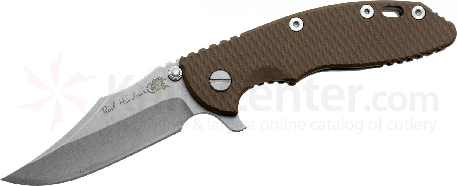 Rick Hinderer Custom XM-18 3.5 inch Flipper, S35VN Bowie Blade, Flat Dark Earth G10 Handle, Copper Hardware
