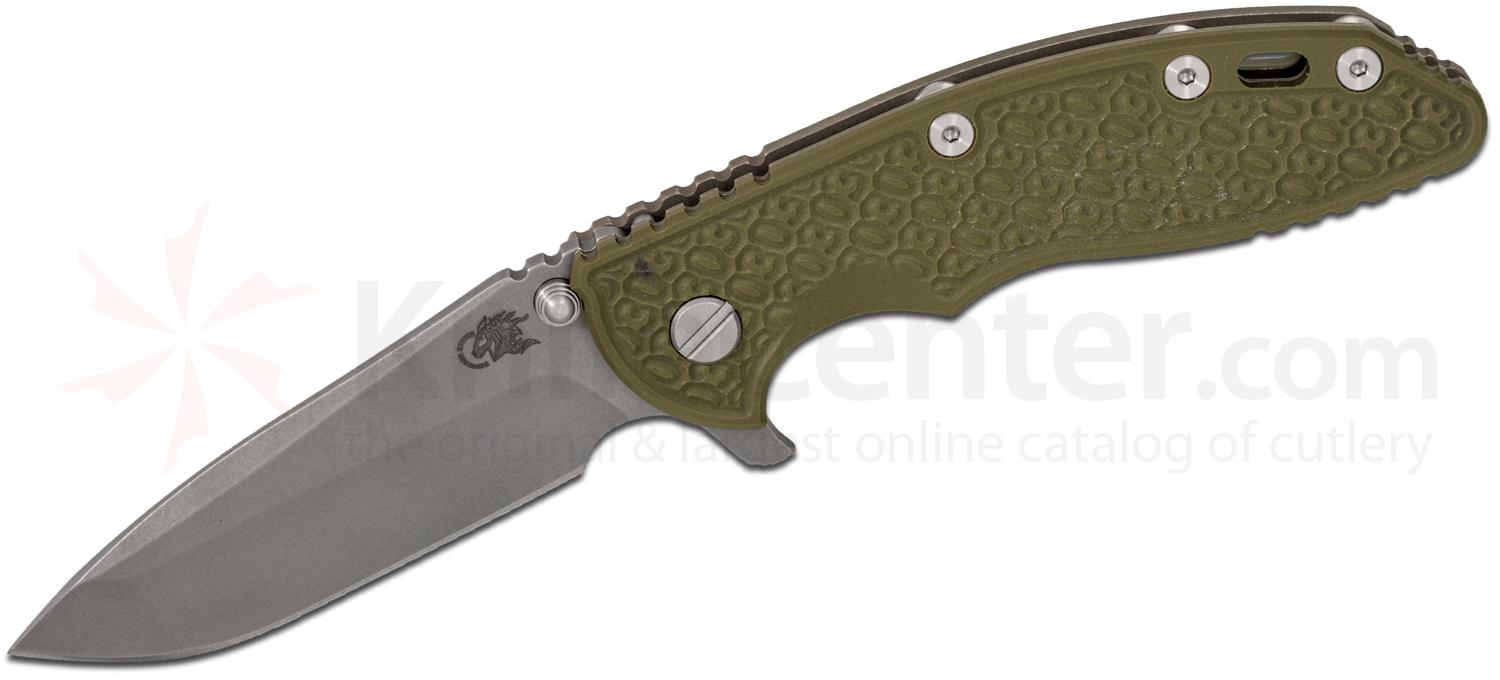 Rick Hinderer Knives Gen 5 30 Year XM-18 3.5 inch Flipper, S35VN Working Finish Spanto Blade, OD Green G10 Handle