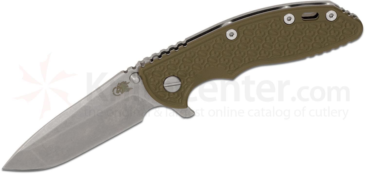 Rick Hinderer Knives Gen 5 30 Year XM-18 3.5 inch Flipper, S35VN Stonewashed Spanto Blade, OD Green G10 Handle