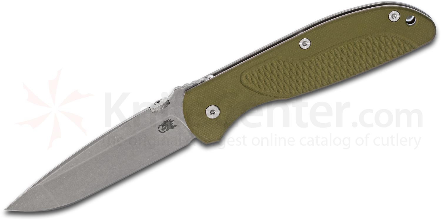 Rick Hinderer Firetac Folding Knife 3.625 inch CPM-20CV Stonewashed Spanto Blade, OD Green G10 and Titanium Handles