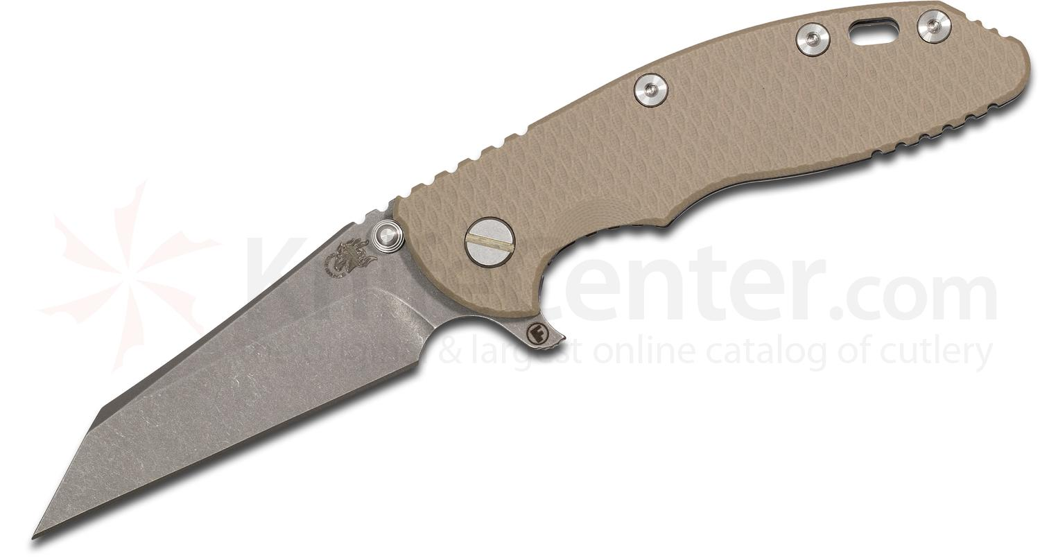 Rick Hinderer Knives XM-18 3.5 inch Fatty Flipper, S35VN Working Finish Wharncliffe Blade, Sand G10 Handle with Blue Anodized Titanium Frame