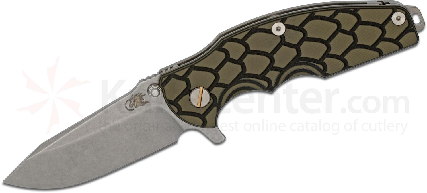 Rick Hinderer Knives Jurassic Flipper 3.25 inch S35VN Stonewashed Spear Point Blade, Black/Green G10 Handle
