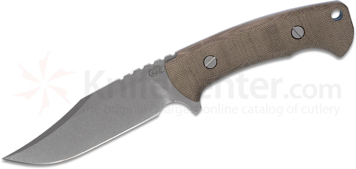 Rick Hinderer Knives Ranch Bowie Fixed Blade Knife 5.25 inch Stonewashed CPM-3V, Green Canvas Micarta Handles, Leather Sheath