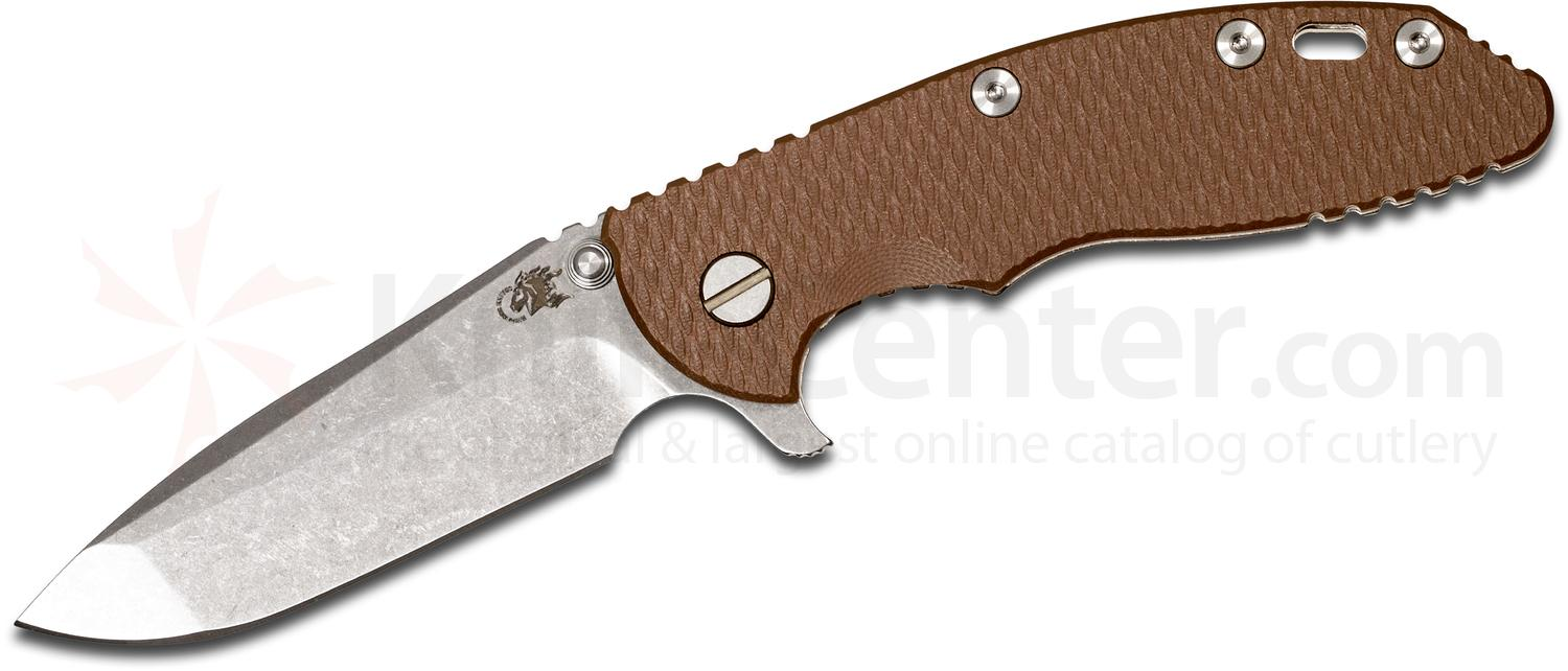Rick Hinderer Knives XM-18 3.5 inch Flipper, S35VN Stonewashed Spanto Blade, Coyote Brown G10 Handle