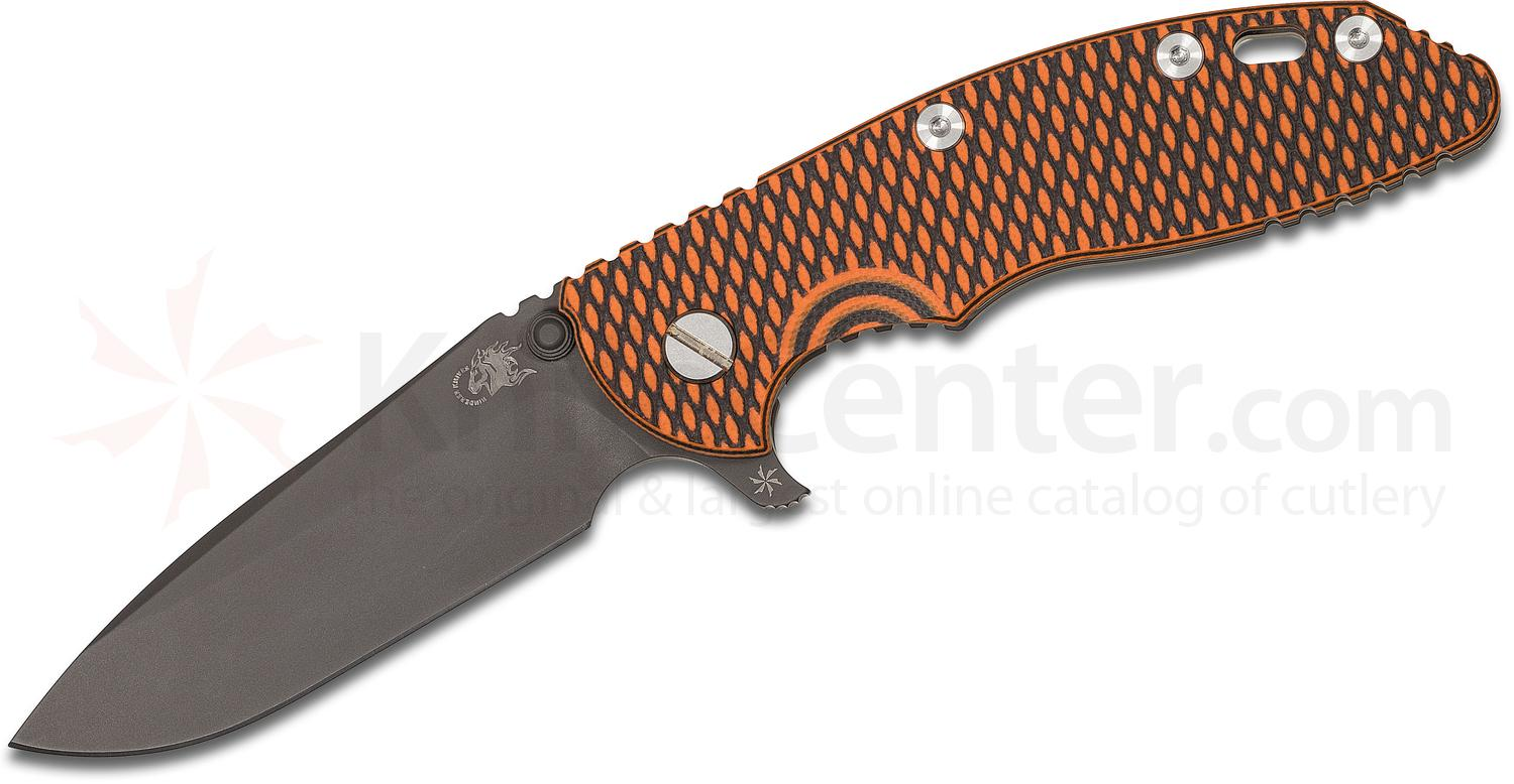 Rick Hinderer Knives XM-18 3.5 inch Flipper, Black DLC S35VN Spear Point Blade, Orange/Black G10 Handle - KnifeCenter Exclusive