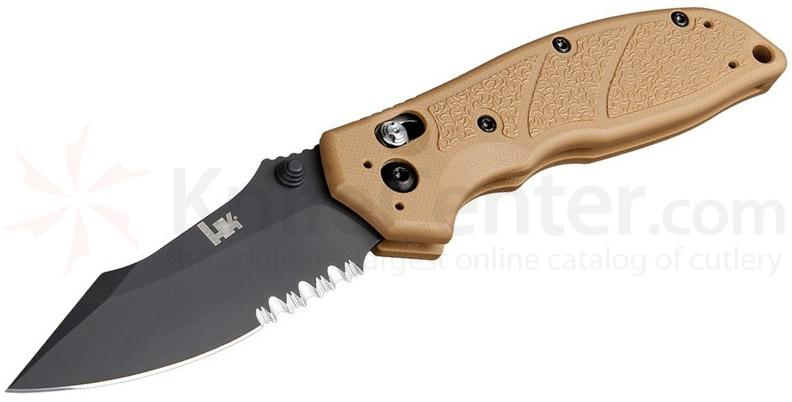 HK Knives Exemplar Folding Knife 3.25 inch 154CM Black Combo Clip Point Blade, FDE G10 Handles