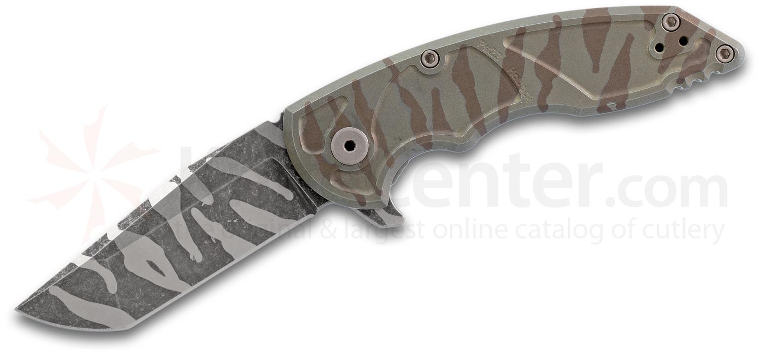 Jake Hoback A8 Slimline Flipper Knife 3.25 inch CPM-20CV Tiger Stripe Camo Blade and Milled Titanium Handles
