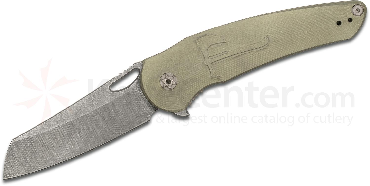 Jake Hoback Custom OSF Flipper 3.625 inch CTS-40CP Acid Washed Blade, OD Green Bedform Titanium Handles - KnifeCenter Exclusive