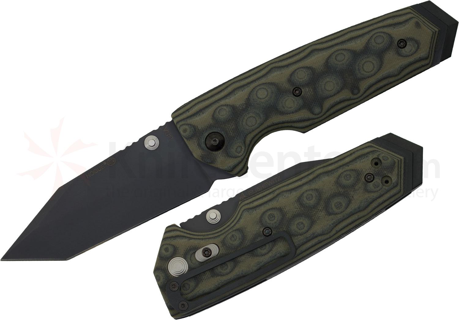 Hogue EX02 3.75 inch Tactical Tanto Blade with G-Mascus Green G-10 Handles