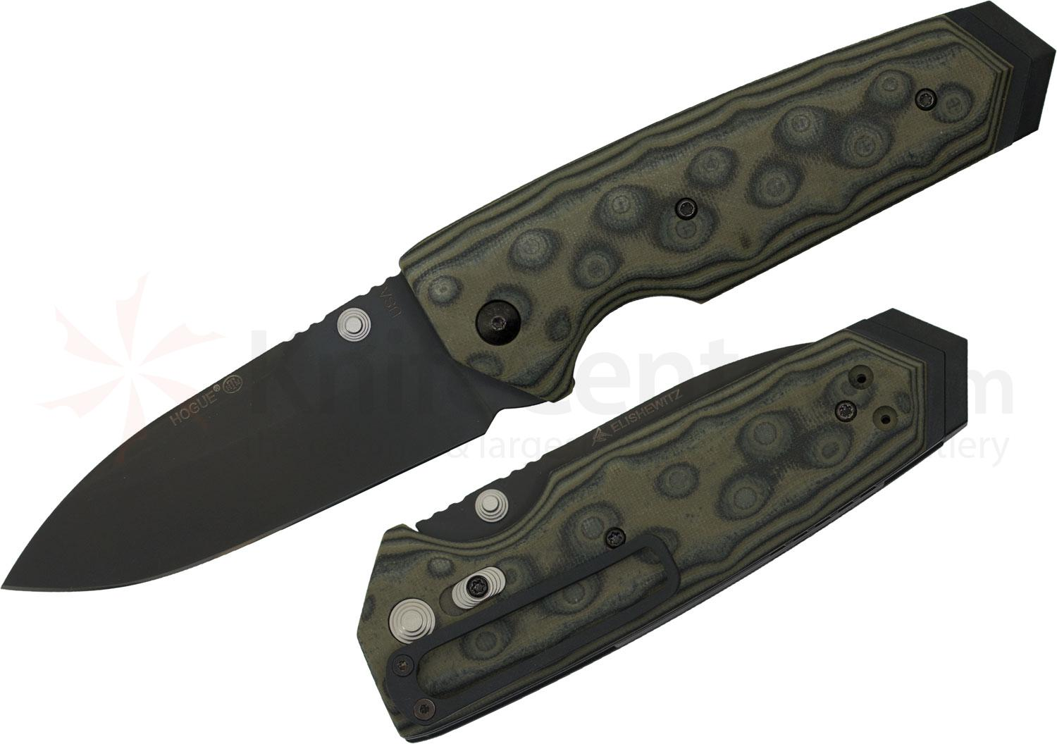 Hogue EX02 3.75 inch Tactical Spear Point Blade with G-Mascus Green G-10 Handles