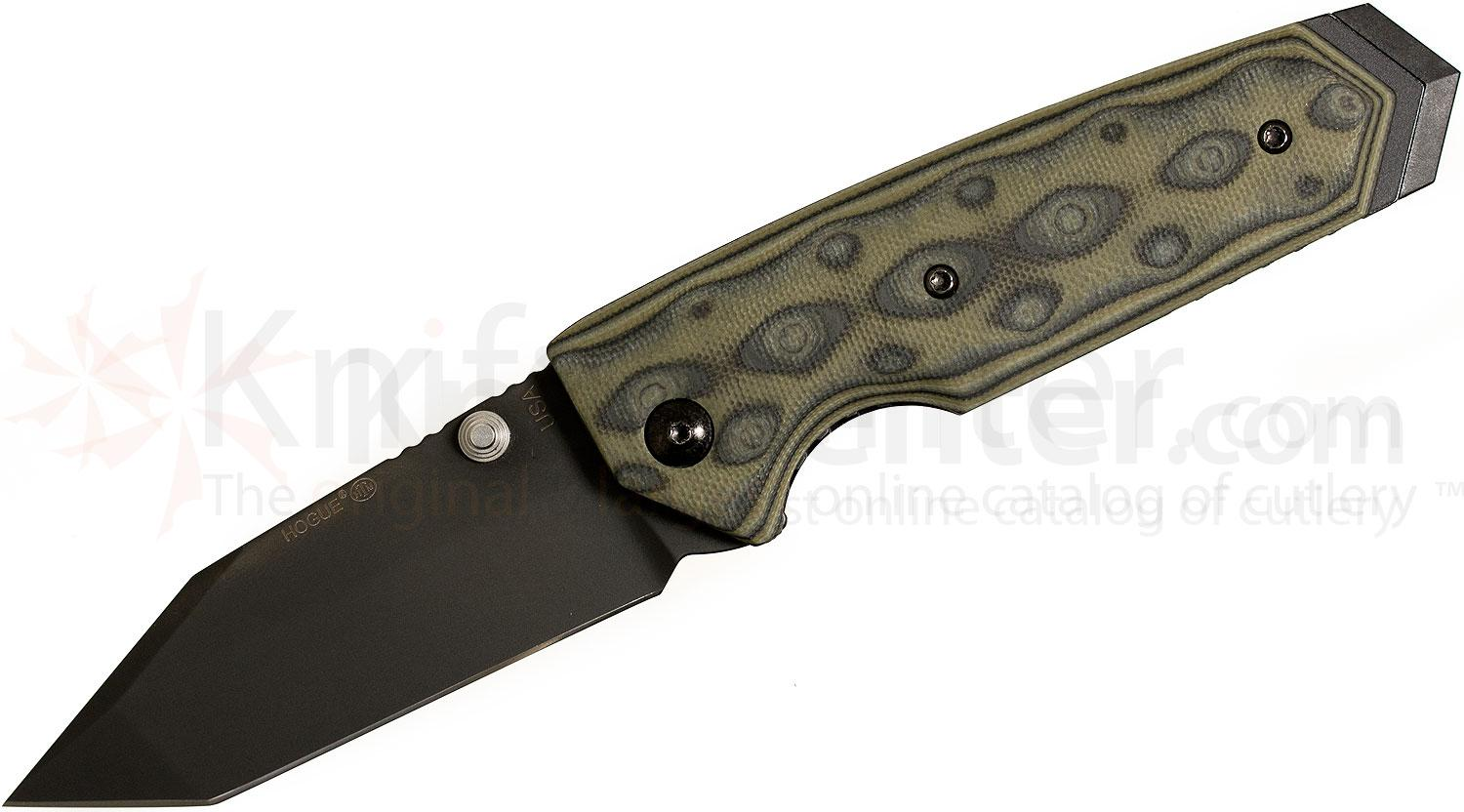 Hogue EX02 3.375 inch Tactical Tanto Blade with G-Mascus Green G-10 Handles