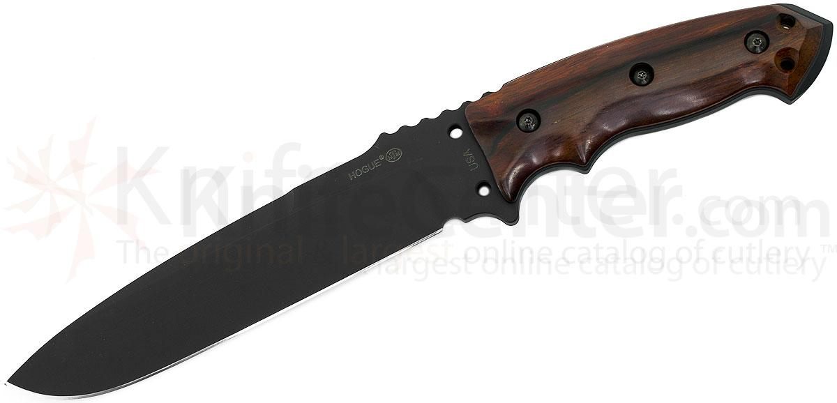 Hogue EX-F01 Combat Knife Fixed 7 inch Carbon Steel Blade, Cocobolo Wood Handles, MOLLE Sheath