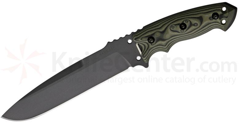 Hogue EX-F01 Combat Knife Fixed 7 inch Carbon Steel Blade, G10 Green G-Mascus Handles, MOLLE Sheath