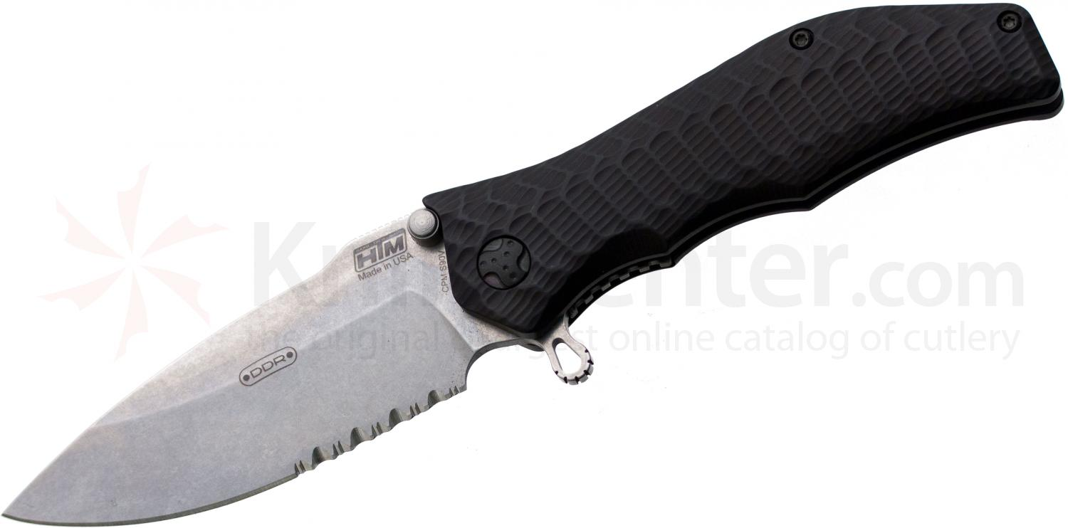 HTM Knives Darrel Ralph DDR Exclusive Gun Hammer Torpedo Assisted 3-1/2 inch Stonewashed S90V Combo Blade, Aluminum Handles