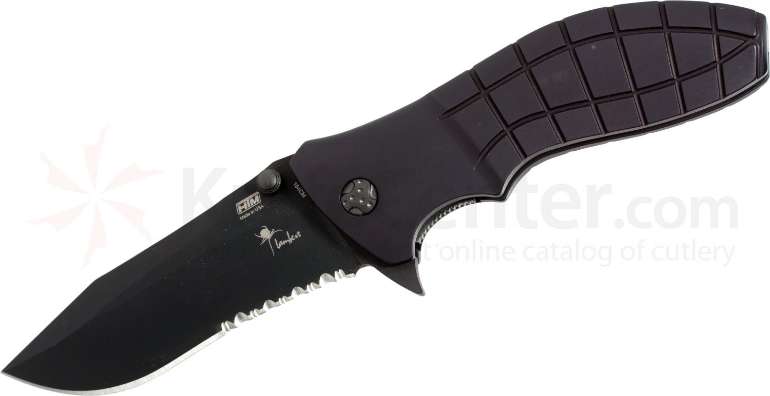 HTM Knives Kirby Lambert Snap Assisted 3-1/2 inch Black 154CM Combo Blade, Aluminum Handles