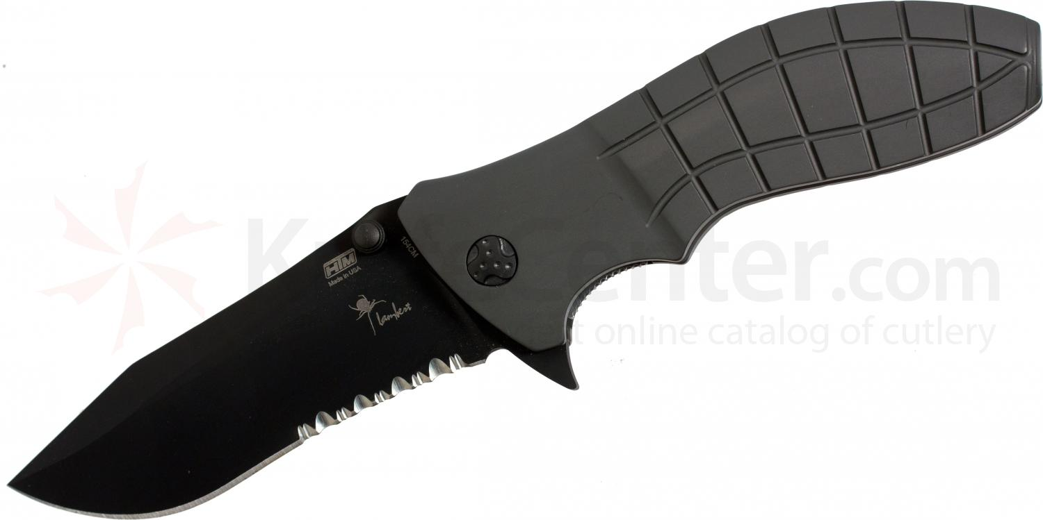 HTM Knives Kirby Lambert Snap Assisted 3-1/2 inch Black 154CM Combo Blade,  inchShark inch Aluminum Handles