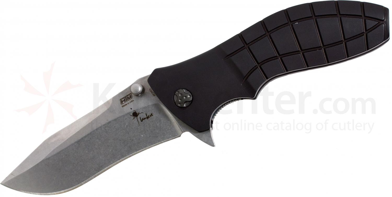 HTM Knives Kirby Lambert Snap Assisted 3-1/2 inch Stonewashed 154CM Plain Blade, Aluminum Handles