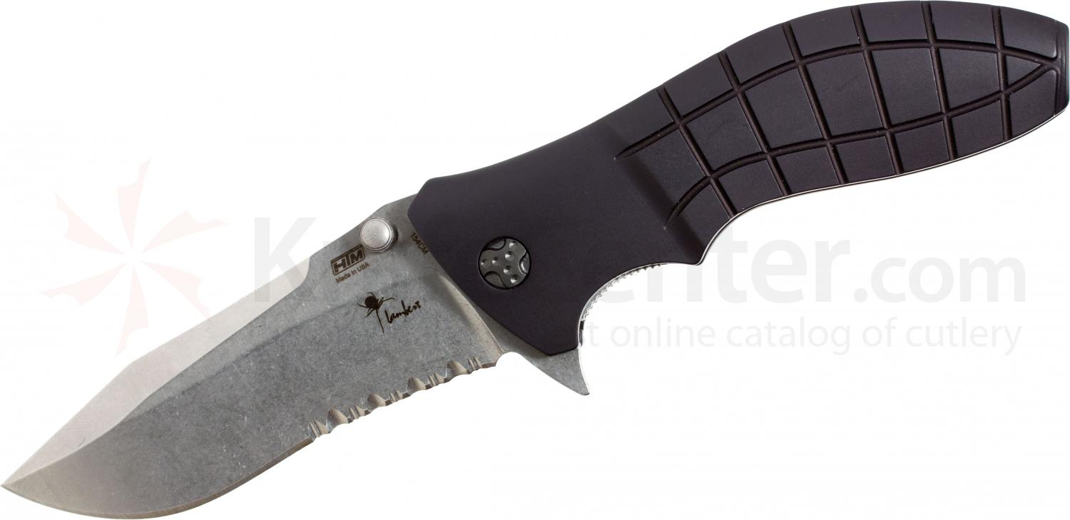 HTM Knives Kirby Lambert Snap Assisted 3-1/2 inch Stonewashed 154CM Combo Blade, Aluminum Handles