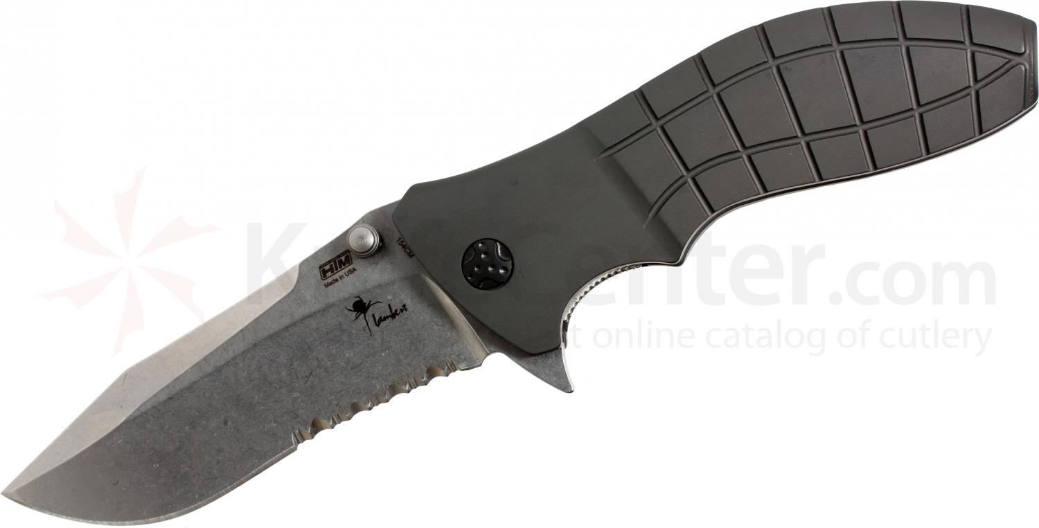 HTM Knives Kirby Lambert Snap Assisted 3-1/2 inch Stonewashed 154CM Combo Blade,  inchShark inch Aluminum Handles