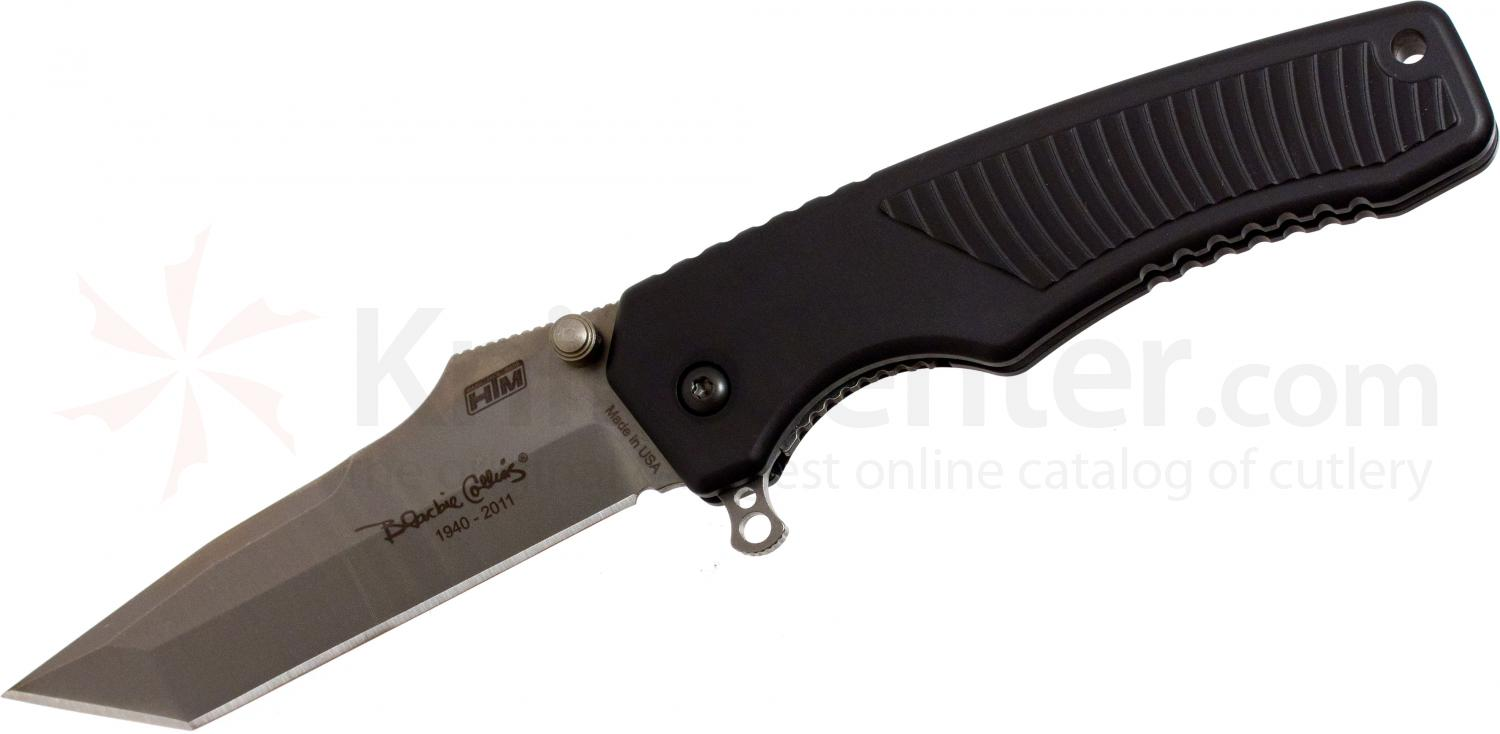 HTM Knives Blackie Collins Legacy Assisted 3-1/2 inch Satin S35VN Plain Tanto Blade, Aluminum Handles