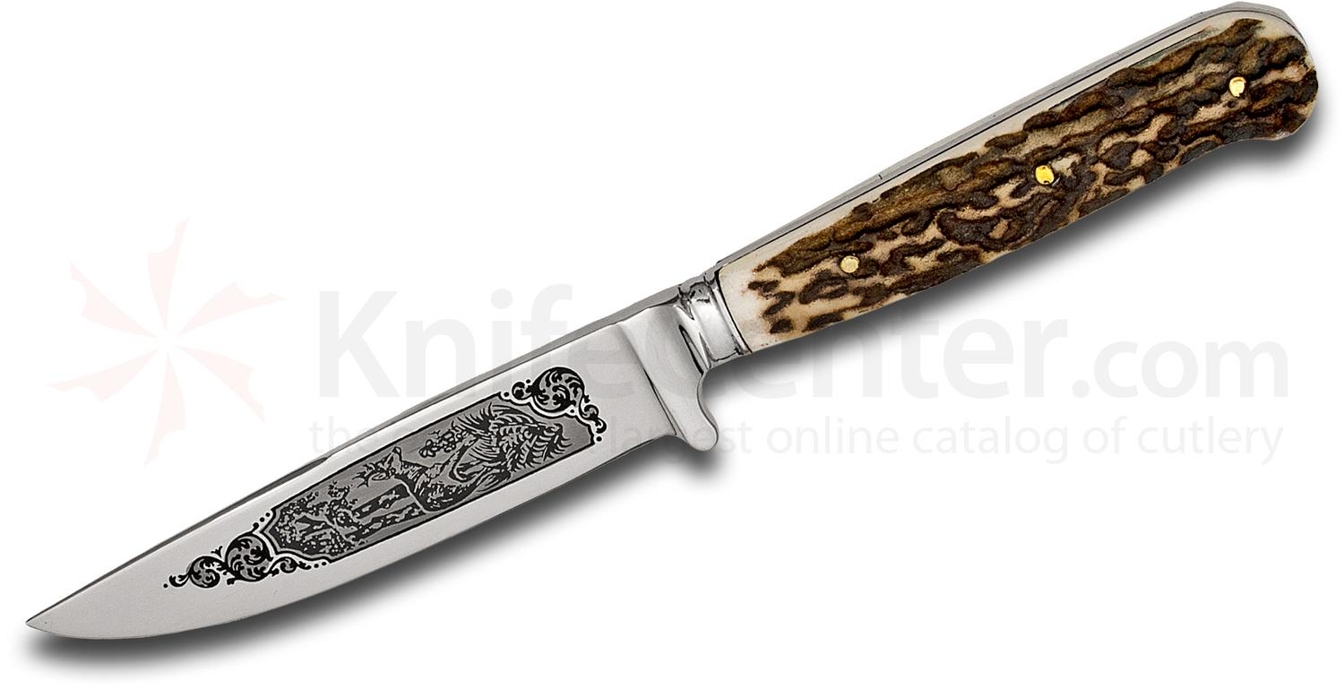 Hubertus Decorated Deer Scene Nicker Fixed 3.75 inch Stainless Blade, Stag Handles, Leather Sheath