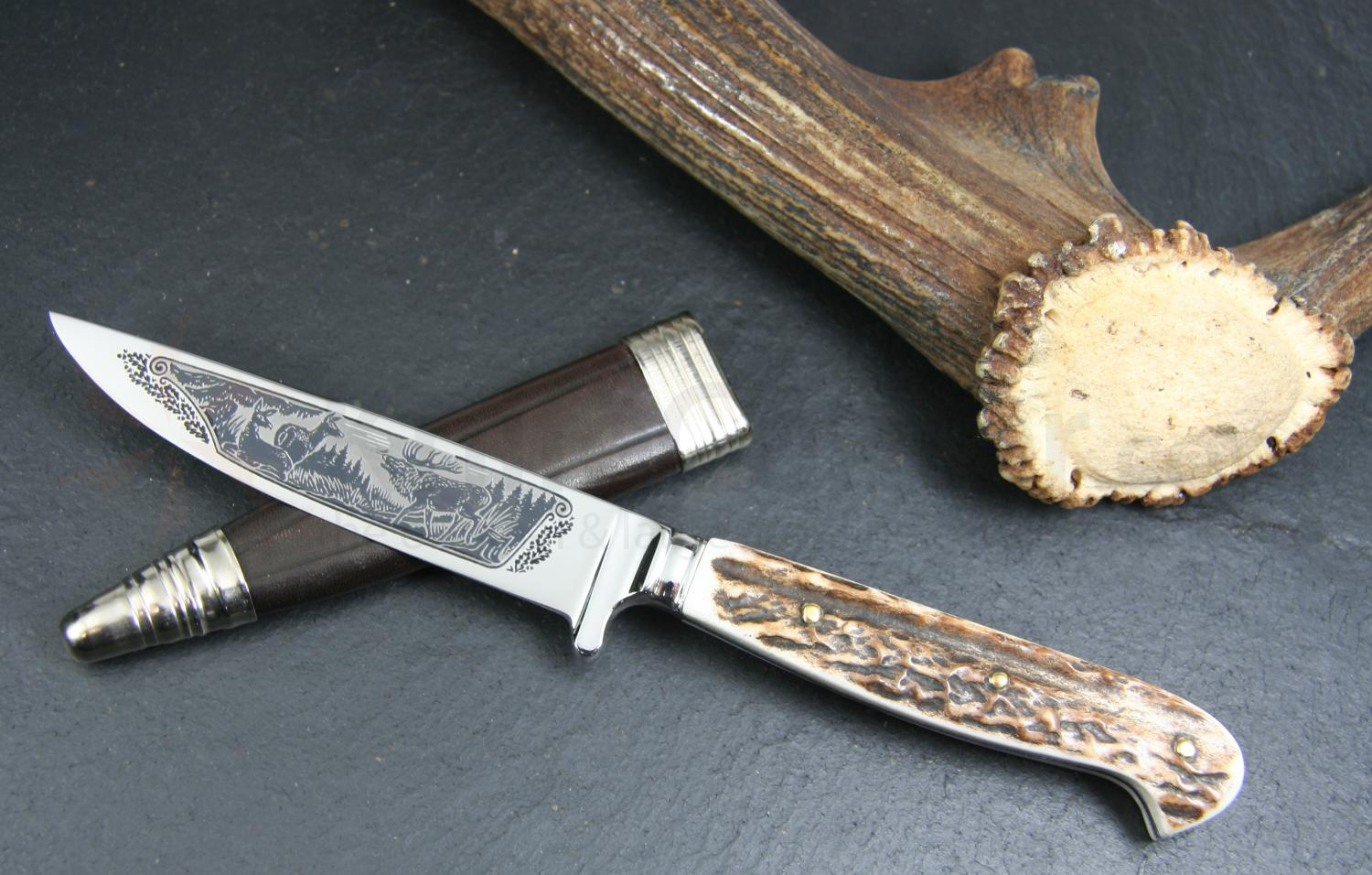 Hubertus Decorated Stag Scene Nicker Fixed 3.75 inch Stainless Blade, Stag Handles, Leather Sheath
