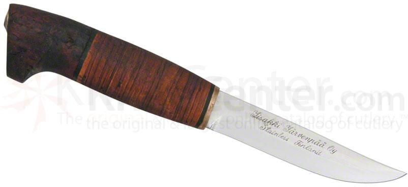 Iisakki Game Knife Fixed 4-1/2 inch Blade, Birch Bark and Curly Birch Handle, Brown Leather Sheath