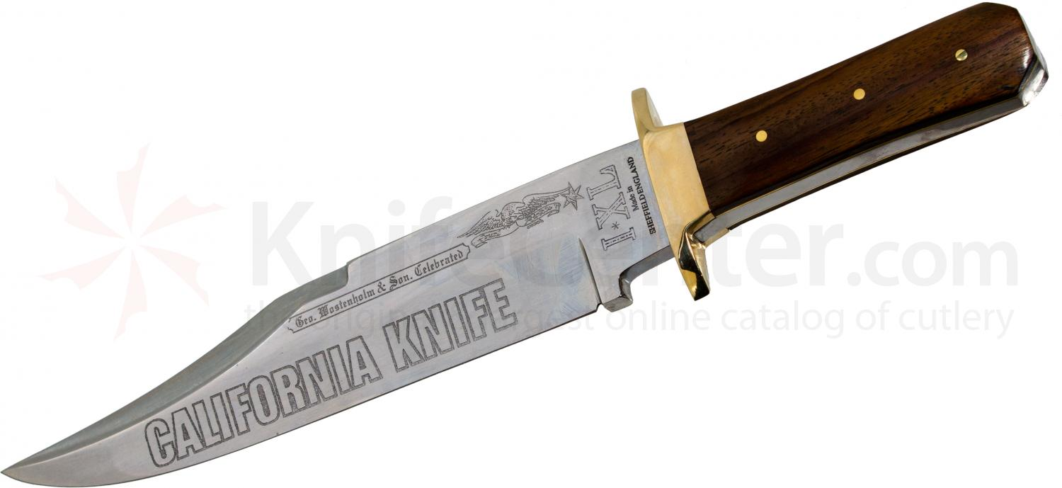 IXL Wostenholm Classic California Bowie 10 inch Etched Blade, Rosewood Handles