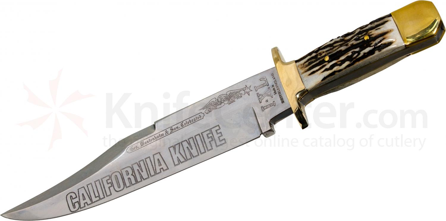 IXL Wostenholm Classic California Bowie 10 inch Etched Blade, Stag Handles