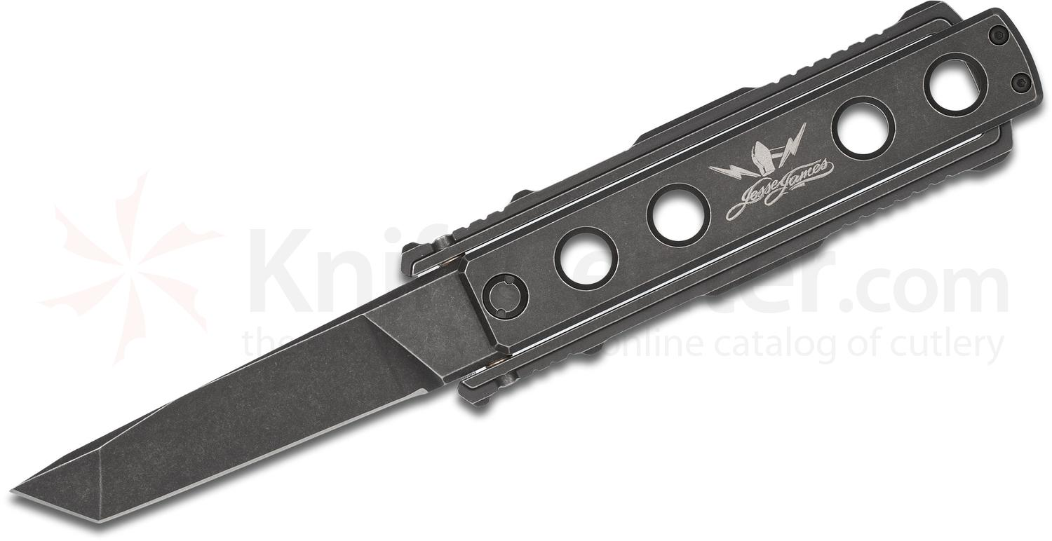 Jesse James Knife Company Nomad Folding Knife, 4.0 inch Black Stonewash Tanto Plain Blade, Black Titanium Handles