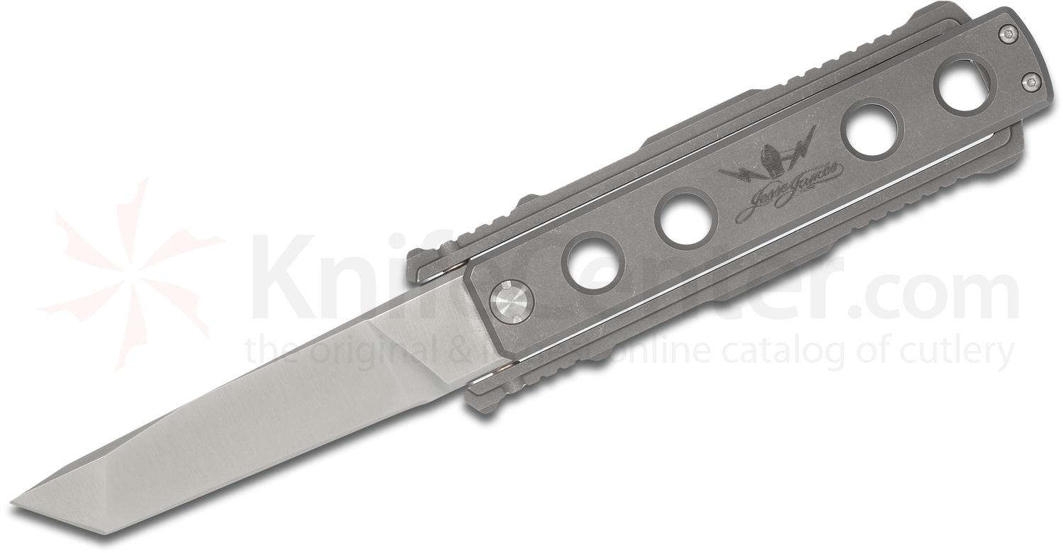 Jesse James Knife Company Nomad Folding Knife, 4.0 inch Tanto Plain Blade, Titanium Handles
