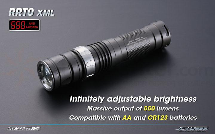 JETBeam RRT-0 XML Aluminum LED Flashlight AA & CR123A Compatible, 550 Max Lumens